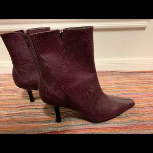Gianni Bini Purple / Amethyst Leather Ankle Boots